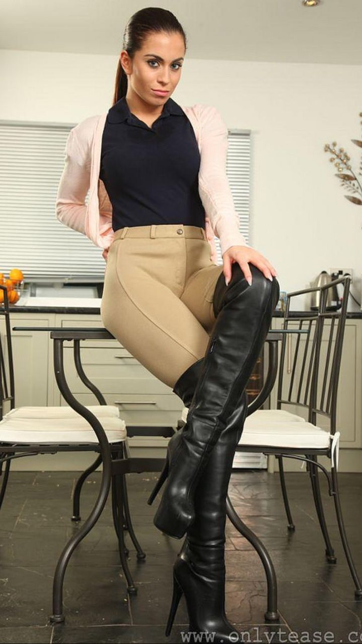 Thigh high leather boot and sex that