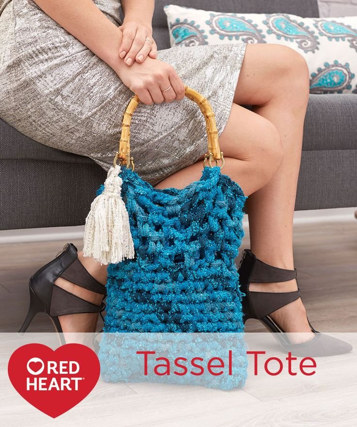 Tassel Tote Free Crochet Pattern in Red Heart Yarns -- You know Sashay® as the ruffle scarf yarn, but you may not be aware that you can crochet with it just as it comes off the ball. This bag is easy to crochet using this super bulky yarn. We added a contrast tassel for fun!
