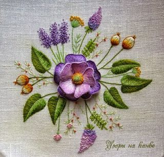 beautiful pansy embroidery