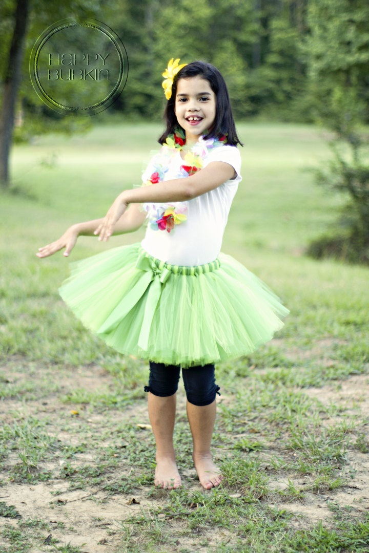 HULA GIRL COSTUME--Custom Made Hand-Tied Ribbon Tutu Skirt with Flower Lei Necklace and Flower Clip, sizes Newborn-5T. $34.00, via Etsy.
