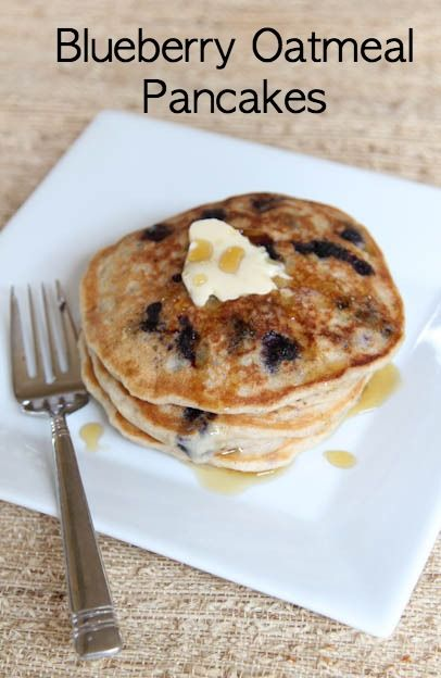 Blueberry Oatmeal Pancakes ~ quick, easy, and freezer friendly! | 5DollarDinners.com