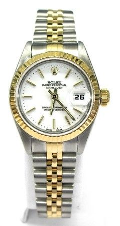 d067e3ddbee Ladies 18kt yellow gold and stainless steel Rolex Oyster Perpetual Date  Just watch. Rolex features