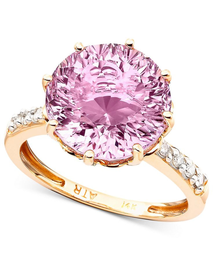 An intriguing feminine design. A round-cut pink amethyst (6-3/4 ct. t.w.) in a 14k rose gold setting with twinkling diamond accents on both sides of the band. | CUSTOM RING SIZING IS FREE AT MACYS.COM