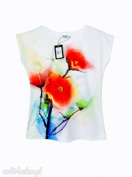 Artystyczna bluzka damska - abstrakcyjne maki - Wysoka Jakość!. $27