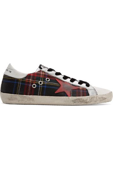 Golden Goose Deluxe Brand - Super Star Tartan Tweed And Distressed Leather Sneakers - Red