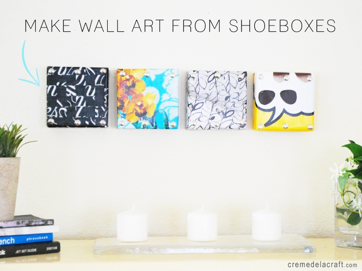 I'm going to make this easy wall art for my apartment!: Wall Art, Wallart, Idea, Diy'S, Shoebox Lids, Diy Wall, Diy Craft, Shoe Box