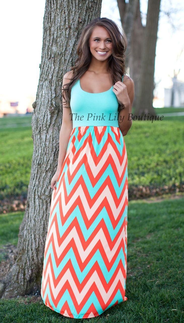 Sweet Like Candy Chevron Maxi Dress - The Pink Lily Boutique