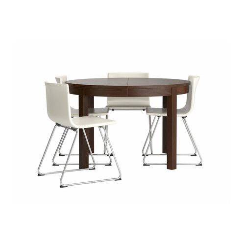 "BJURSTA/BERNHARD Table and 4 chairs - -, chrome plated/Kavat white, 45 1/4 "" - IKEA"