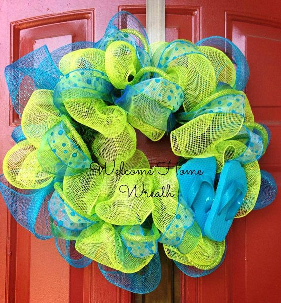 Deco Mesh Wreath Summer Flip Flop Ribbon Wreath Front Door