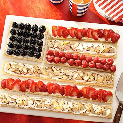 Fourth of July inspiration: Top a homemade cookie with strawberries and blueberries to create an edible American flag.