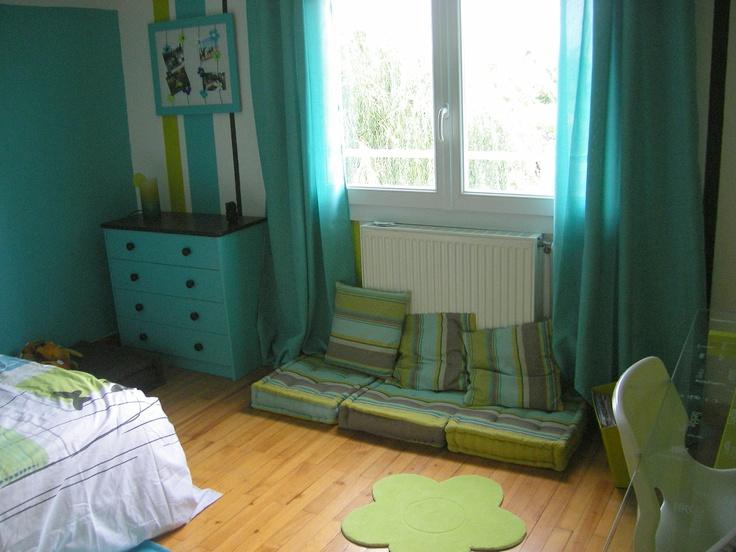 chambre ado anis/chocolat/turquoise