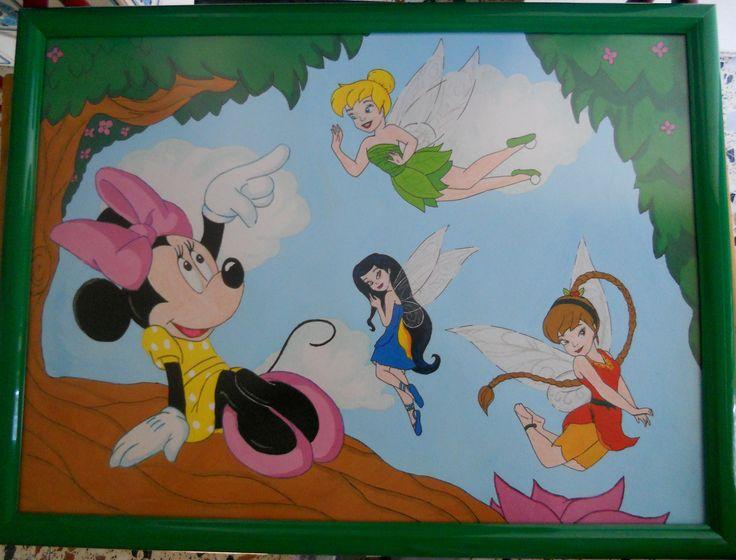 Cuadro Disney gouache/tempera. Minnie, Campanilla