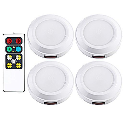 Dewenwils Wireless Led Puck Light With Remote Control Timer Dimmer 3000k Warm White Stick On Tap Lights B Led Puck Lights Puck Lights Battery Powered Light