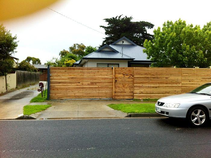 Horizontal picket sliding driveway steel frame gate