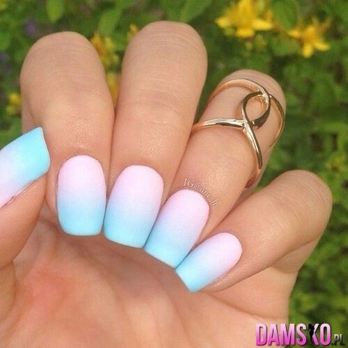 Cotton Candy Satin Fingernail Polish: Matt, Ombre Pastal Nails