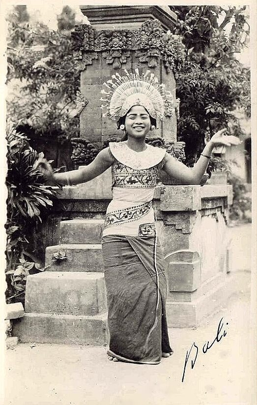 Balinese dancer, old postcard, 1930s