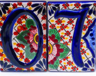 House Numbers, Spanish Tile, Colorful Tile, Home Decor, Mexican Hand painted Tiles