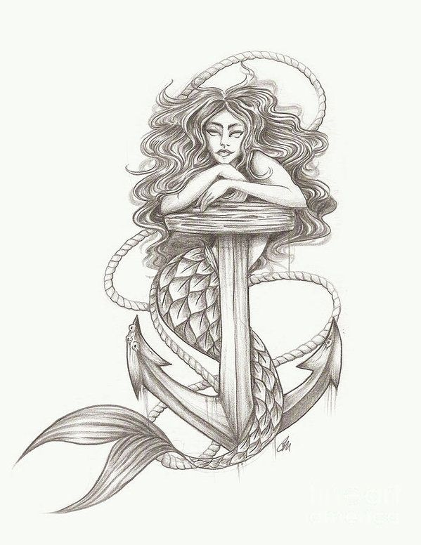 Mermaid with anchor drawing illustration.  Art Print available for sale on Fineart america! canvas, poster, framed art and more!  mermaid, nautical illustration, artist Richmond Virginia.Jasmine Mills #mermaid #tattoo #illustration #gift idea #nautical #ocean #anchor