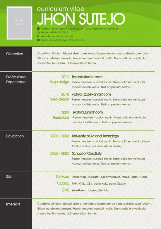 82 best Resume Templates \/ Plantillas images on Pinterest Free - free cool resume templates
