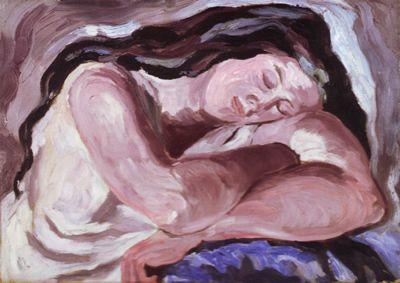 """Carlo Levi, """"Donna dormiente"""", 1933, olio su tela, 52 x 72,5 cm (da Carlo Levi, """"I dipinti restaurati (1920 - 1933)"""", catalogo della mostra organizzata dalla Fondazione Carlo Levi, 2009, Palombi & Partner Srl, Roma)"""