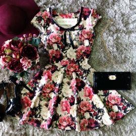 Vestido   Manguinha Lara  Piquet C/ BOJO ( Estampa  Flowers Real)