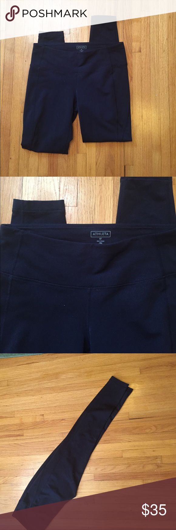 """ATHLETA Black Size Large Tall (LT) Yoga Pants. ATHLETA Black Size Large Tall (LT) Yoga Pants. Body is 85% Nylon and 15% Spandex with a 100% Polyester gusset and 100% Nylon pocket lining. Worn once. They fit great I just haven't worn them. Like new condition. Waist 30"""", Hips 32"""", Inseam 24"""", Length from Waist to Bottom Hem 37"""". Waist is thicker, please see photos. No trades. No PayPal. Athleta Pants Leggings"""