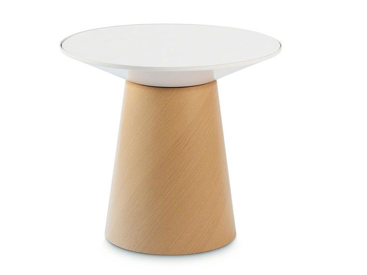 Unique table with a wood base and a paper table top covered with glass