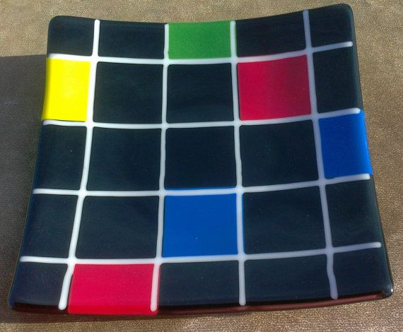 Mondrian+inspired+fused+glass+plate+and+by+CopperCanyonGlassArt,+$105.00