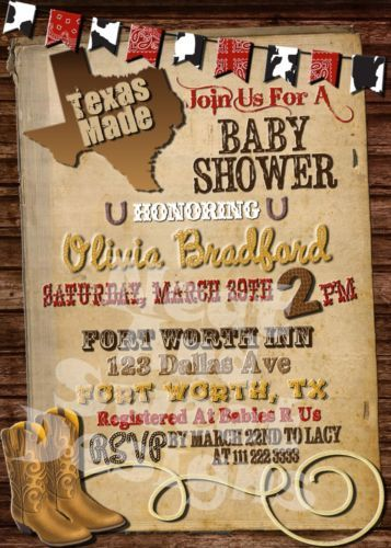 Printable Made in Texas Western Themed Baby Shower Invitation Western Style SH | eBay