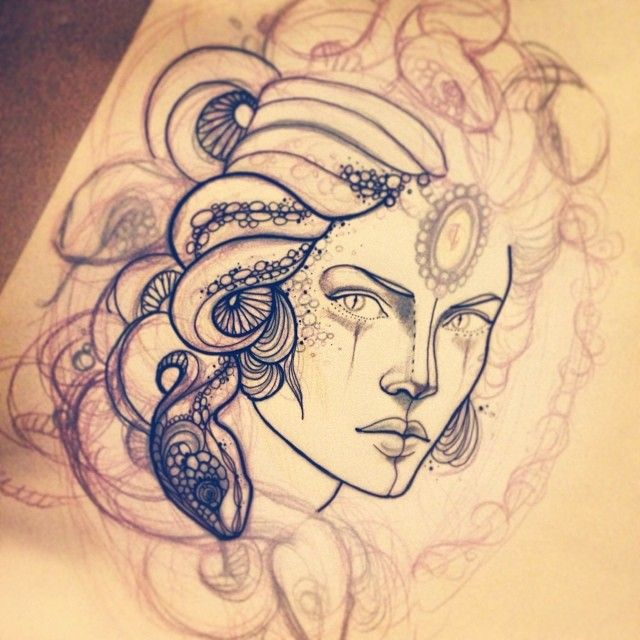 Drawing Smooth Lines In Flash : Medusa head tattoo design real photo pictures images and