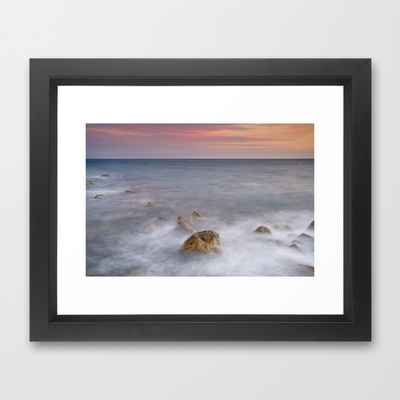 Big rock against the waves Framed Art Print by Guido Montañés - $37.00: The Wave