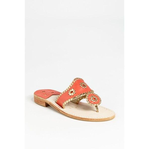Jack Rogers Whipstitched Flip Flop (Women) ($47) ❤ liked on Polyvore featuring shoes, sandals, flip flops, leather flip flops, lace up flip flops, flower sandals, laced sandals and leather shoes