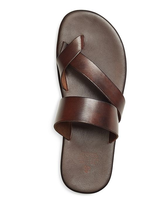 Brooks Brothers Leather Criss-Cross Sandal in Dark Brown, made in Italy
