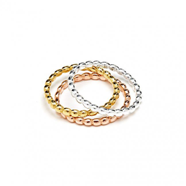 A mixed metal trio of our ultra-modern 'Oval' rings