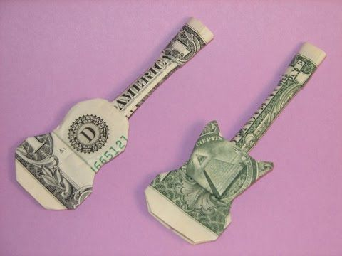 DIY How to Fold Money Origami Guitar - $1 One Dollar Guitar - Paper Guitar Paper Crafts - YouTube