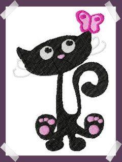 10EMBROIDERY Patroon Zwarte Kat Met Vlinder (13K)