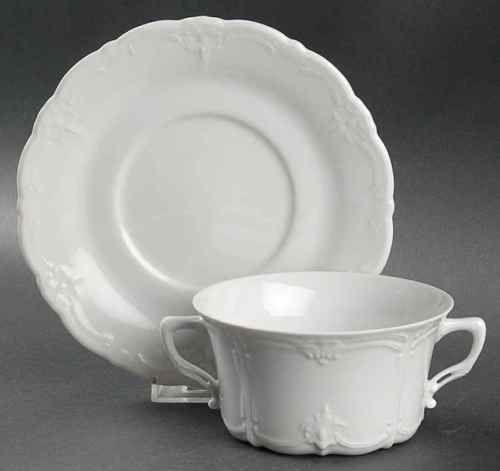 Tirschenreuth-BARONESSE-WHITE-Cream-Soup-amp-Saucer-1188391