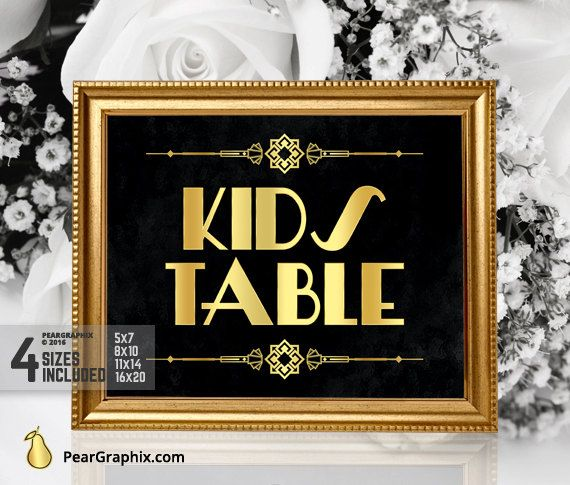 Printable Kids Table Wedding Sign DIY / Gatsby by PearGraphixCom