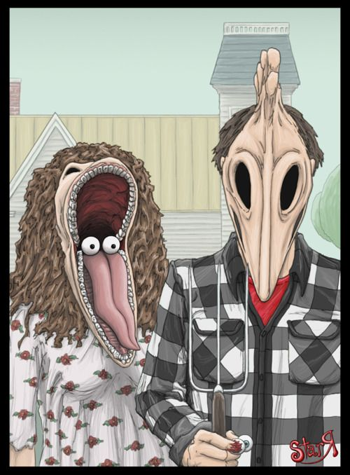Beetlejuice Gothic.Stuff, Halloween Costumes, Beetlejuice, Grant Wood, Movie, Fans Art, Tim Burton, American Gothic, Timburton