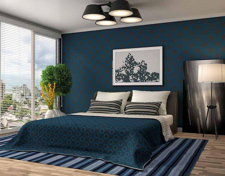 Синие обои для спальни: купить всё необходимое и получить консультацию дизайнера вы можете в Центре дизайна и интерьера 'ЭКСПОСТРОЙ на Нахимовском'
