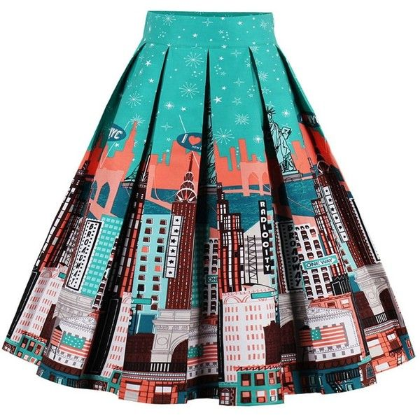 Printed High Waisted Skater Skirt ($19) ❤ liked on Polyvore featuring skirts, flared skirts, high waist skirt, high-waisted skater skirts, high-waisted skirts and high rise skirts