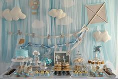 kite flying up in the clouds baby shower birthday party planning supplies idea