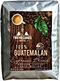 Two Volcanoes Gourmet Ground Coffee - Guatemala Dark Roast Espresso Blend From Organic Coffee Beans. Rare Blend of The Best of Guatemalan Arabica & Robusta Beans - Best Coffee Gift - 2 lb Bag (32 oz)