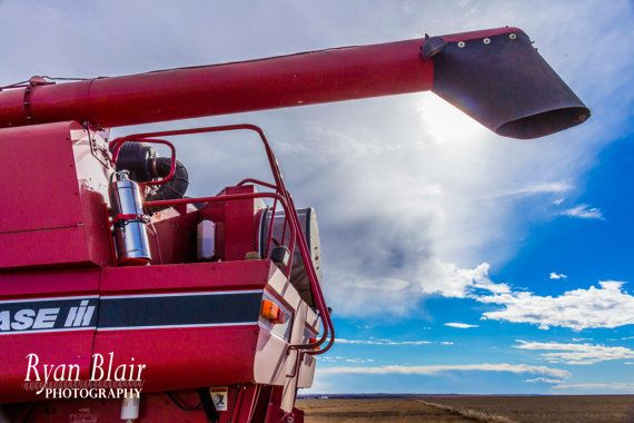 Harvest Combine in the Sun Alberta Farm by RyanBlairPhotography