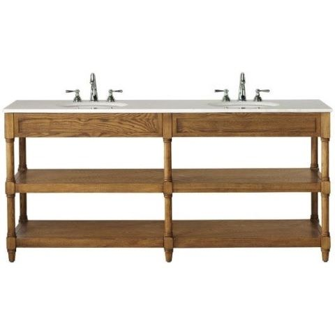 Add posh practicality to your bathroom with the Montaigne Double Vanity. Two open shelves can store everything from towels to toiletries and the vanity omplements many home decor styles.