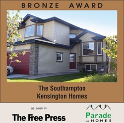 Award Winning Kensington Homes - a top rated new home builder in Winnipeg Manitoba - The Southhampton - Bronze Award