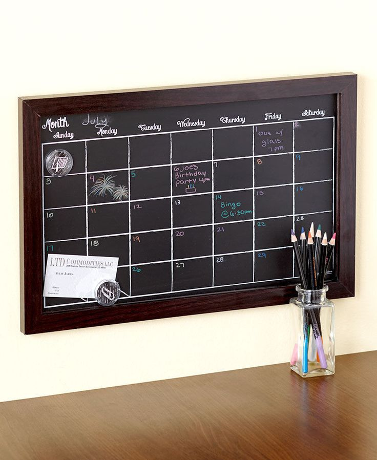 NEW MAGNETIC DARK WOODEN CHALKBOARD CALENDAR W/ CHALK PENCILS KITCHEN HOME DECOR  | eBay