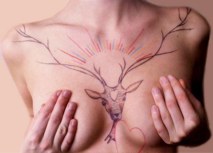 tattoo: Tattoo Ideas, Tattoo Inspiration, Deer Tattoo, Female Chest Tattoo, Tattoo'S, Inked Magazine, Tatoo