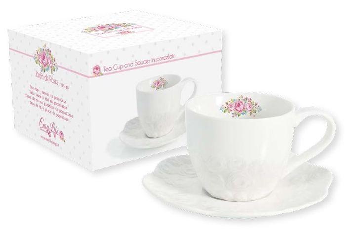 Чашка с блюдцем из фарфора «Розовый сад»      Бренд: Easy Life (Nuova R2S) (Италия);   Страна производства: Китай;   Материал: фарфор;   Коллекция: Розовый сад;   Объем чашки: 250 мл;          #tea #porcelain #фарфор #посуда #чай