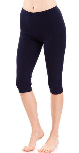 Ladies Cotton Spandex Stretch Capri Leggings, USA Made, Multiple Colors Avail -- Want to know more, click on the image.